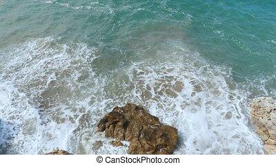 Aerial of the ocean waves. - Aerial of the ocean waves...