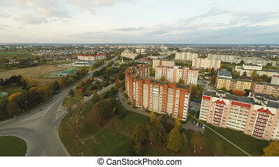 Aerial of the outskirts of the city of Lida. Residential neighborhood. Belarus. Lida.