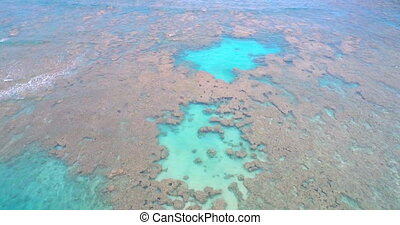 Aerial of the shallow sea 4k - Aerial view of the shallow...