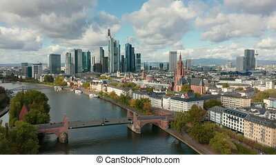 Aerial footage of Frankfurt a. Main with the river Main.