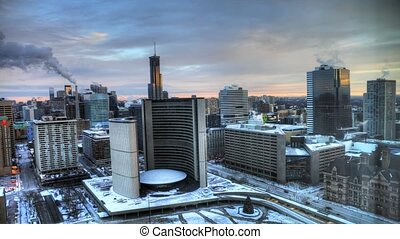 Aerial of Toronto City Hall