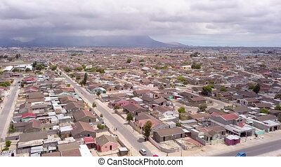 Aerial of township in Cape Town, South Africa