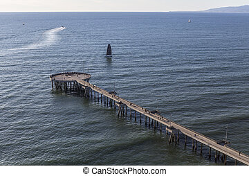 Aerial of Venice Pier in Los Angeles California