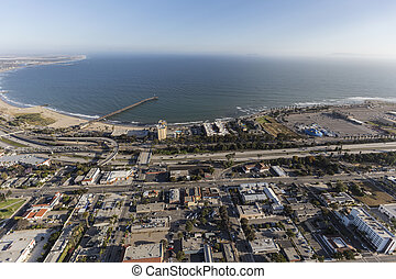 Aerial of Ventura Coast in Southern California