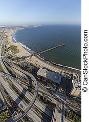 Aerial of Ventura Freeway and Pier in Southern California