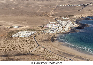 aerial of village Famara  in Lanzarote