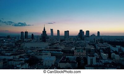 Aerial of Warsaw downtown in the evening - Establishing...
