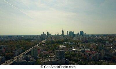 Aerial of Warsaw downtown skyline, Poland.