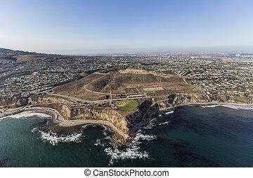 Aerial of Whites Point in San Pedro, California