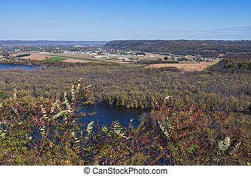 Aerial of Wisconsin River Valley and Prairie du Chien