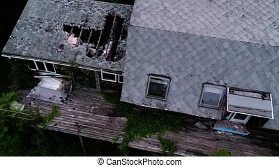 Aerial old abandoned house