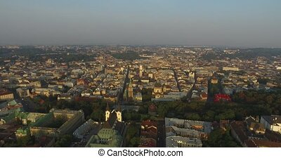 Aerial Old City Lviv, Ukraine. Central part of old city. European City. Densely populated areas of the city. Town hall. Lviv Palac Potockuh
