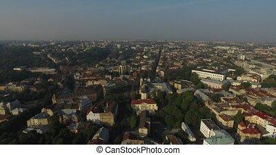 Aerial Old City Lviv, Ukraine. Central part of old city.  Town hall. Lviv doroshenka street