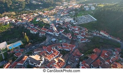 Aerial. Old historic village in mountains of southern...