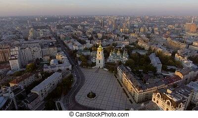 Aerial Orthodox Cathedral in Kyiv. Sophia Cathedral Kyiv. Ukraine