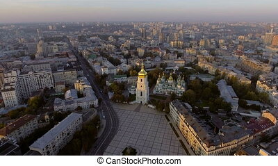 Aerial Orthodox Cathedral in Kyiv. Sophia Cathedral Kyiv....
