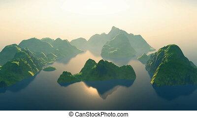 Aerial over a tropical archipelago
