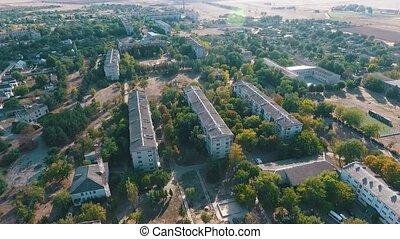 Aerial pan shot of Askania-Nova, the headquarters of Taurida...