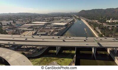 Daytime aerial shot of roads in Glendale, California