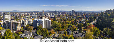 Aerial Panaramic View Of Portland Oregon And Surrounding Suburbs
