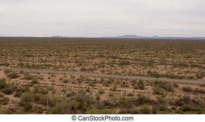 Aerial panning shot of Sonoran Desert in Arizona