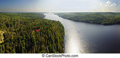 Aerial panoram view of river