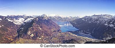 Aerial panorama city of Interlaken and Brienz lake
