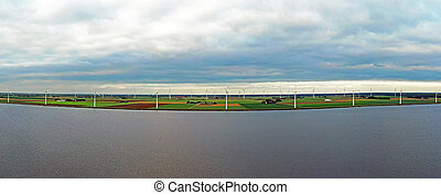 Aerial panorama from a wind farm at the Eenmeer in the Netherlands