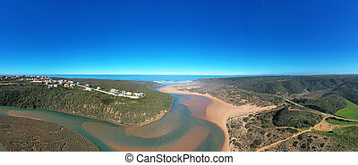 Aerial panorama from Amoreira beach in the Algarve Portugal
