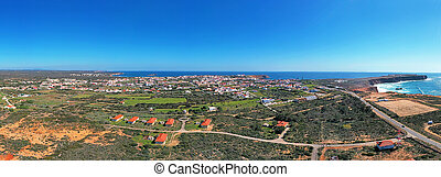 Aerial panorama from the vilage Sagres in the Algarve ...