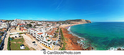 Aerial panorama from the village Luz in the Algarve Portugal