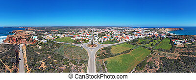 Aerial panorama from the village Sagres in the Algarve ...