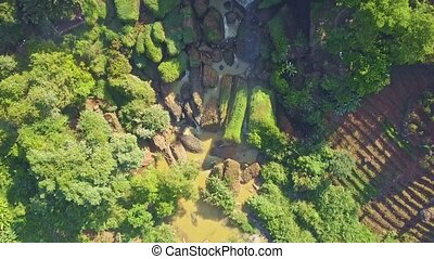 Aerial Panorama Giant Waterfall Streams from Cliff - aerial...