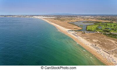 Aerial panorama of Albufeira in Algarve region, Portugal, bech Gale