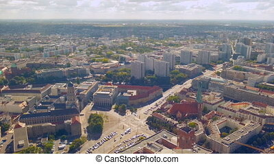 """""""Aerial panorama of Berlin street traffic on sunny summer day, timelapse"""""""