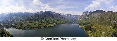 Aerial panorama of Bohinjsko jezero lake