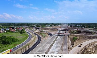 Drone view of building highway, motorway or expressway. Large construction works