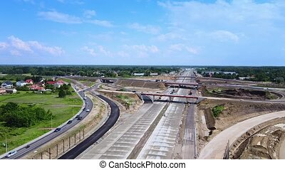 Panorama of building highway, motorway or expressway. Large construction works