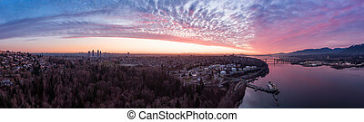 Aerial Panorama of Burnaby, Vancouver, during sunset