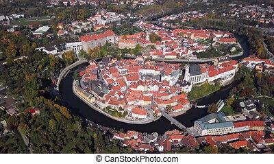 Aerial panorama of Cesky Krumlov.