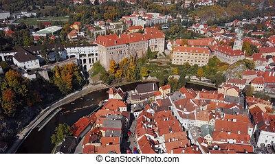 Aerial panorama of Cesky Krumlov old town