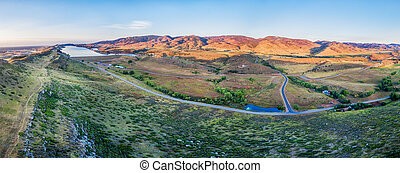 aerial panorama of foothills at Fort Collins - aerial ...