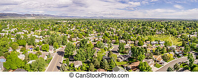 aerial panorama of Fort Collins with downtown and Rocky ...