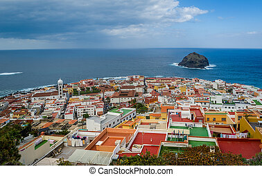 Aerial panorama of Garachico old town