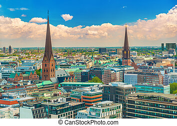 Aerial panorama of Hamburg, Germany. Cityscape with historical landmarks and beautiful sky on the background