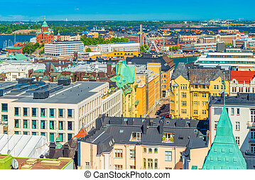 Aerial panorama of Helsinki, Finland. Cityscape in a sunny summer day