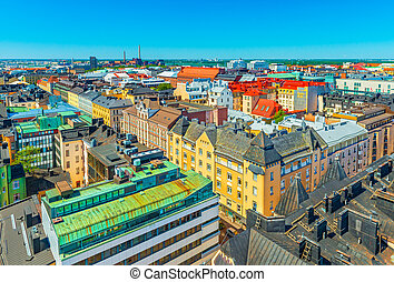 Aerial panorama of Helsinki, Finland. Historical and modern buildings in the central part of the city