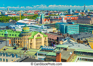 Aerial panorama of Helsinki on a summer day, Finland