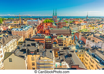 Aerial panorama of Helsinki on a summer day with the clear blue sky, Finland