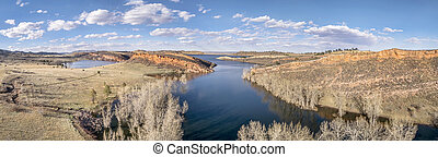 aerial panorama of Horsetooth Reservoir near Fort Collins, ...